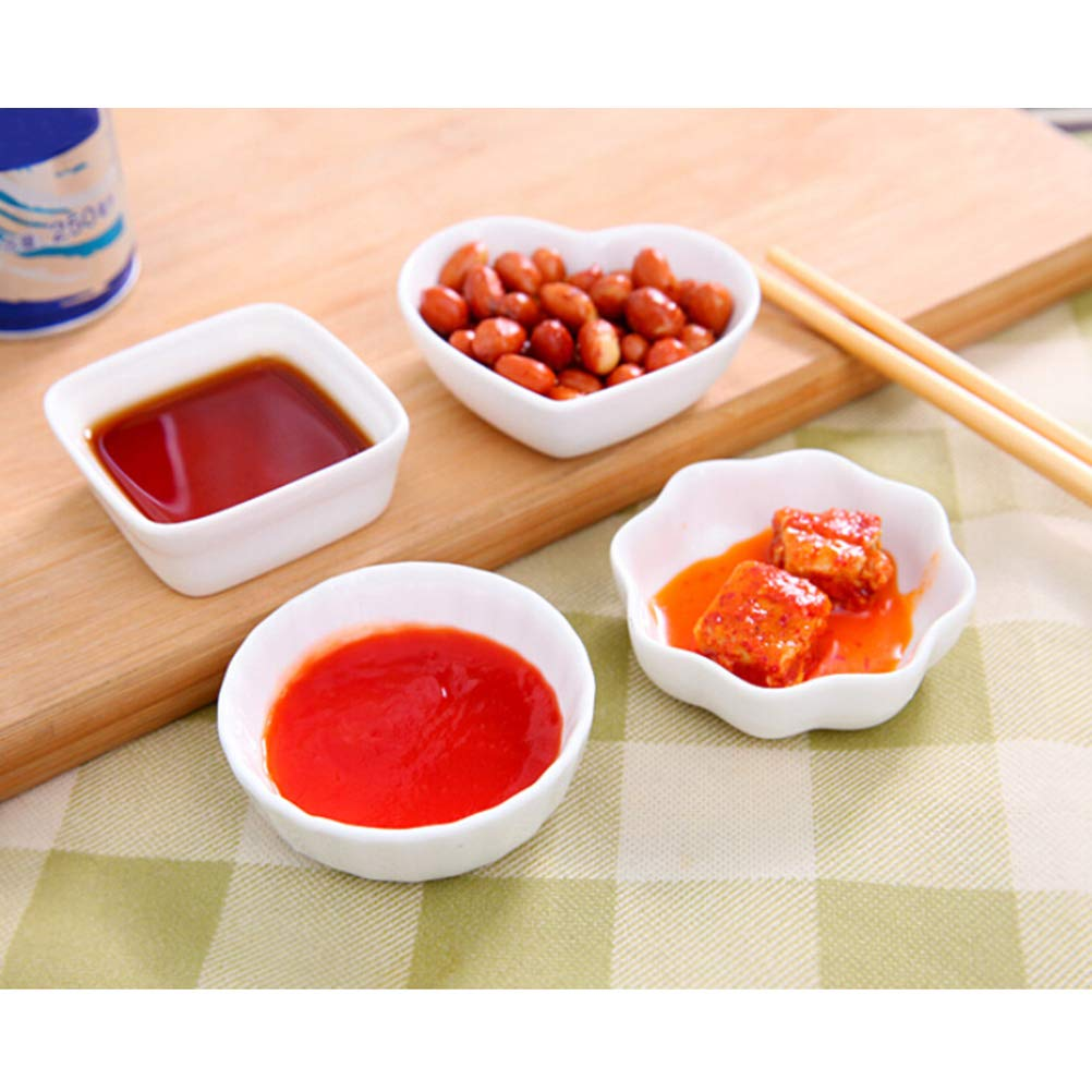 Amazon.com | BESTONZON 2PCS White Ceramic Dishes Japanese Style Dipping Dish Kitchen Seasoning Sauce Vinegar Plates (Square): Side Dishes