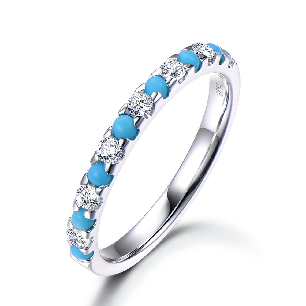 925 Sterling Silver Turquoise CZ Cubic Zirconia White Gold Wedding Band Half Eternity Pave Stacking Ring