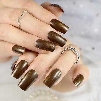 Amazon.com: 24Pcs Medium False Nails Square Head Acrylic Fake Nail Glitter Brown Full Cover Nail Tips Fuax Ongles Finger Art brown: Beauty