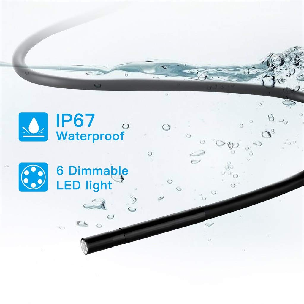 Halbstarre Kabel HD 1080P Drahtlose Inspektionskamera mit 6 LED-Leuchten f/ür IOS /& Android HSKB WiFi Endoskop Tablet Windows 5 M Endoskopkamera IP67 Wasserdichte Autofokus 1,2 MP Flexible Kamera