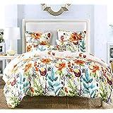 Bekith Duvet Cover Set - Floral Print Pattern Boho Hotel Bedding Sets Comforter Cover - Ultra Soft Hypoallergenic Microfiber 3 Piece (1 Duvet Cover + 2 Pillow Shams) (Queen)