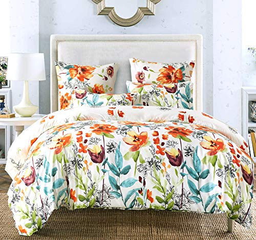 Bekith Duvet Cover King Duvet Cover Set - Floral Print Pattern Boho Hotel Bedding Sets Comforter Cover - Ultra Lightweight Soft Microfiber (1 Duvet Cover + 2 Pillow Shams) (King)
