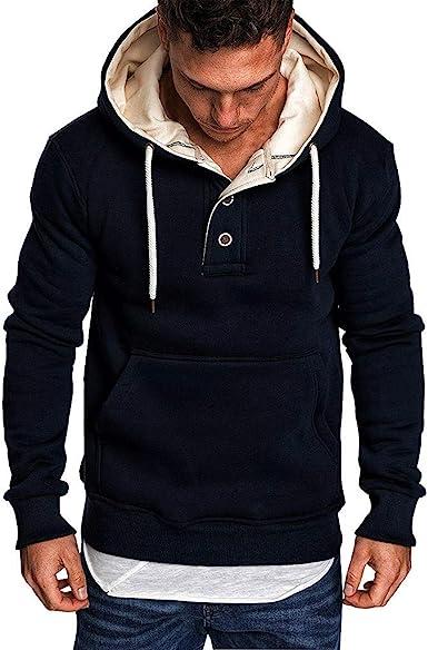 Sudaderas con Capucha Sudadera para Hombre Moda Manga Larga Primavera y otoño Casual Abrigo Camisas Blusa Top chándales Color sólido Chaqueta Abrigo ...