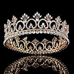 FUMUD Women's Luxury Crystal Tiara Shining Rhinestone Crown for Pageant Wedding Bridal Beauty Contest Prom Party (Full Crown) (Rose gold)