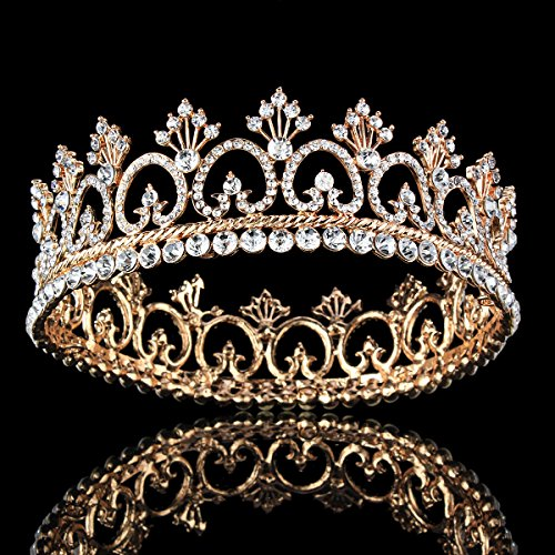 Gold Crystal Crown (FUMUD Women's Luxury Crystal Tiara Shining Rhinestone Crown for Pageant Wedding Bridal Beauty Contest Prom Party (Full Crown) (Rose gold))