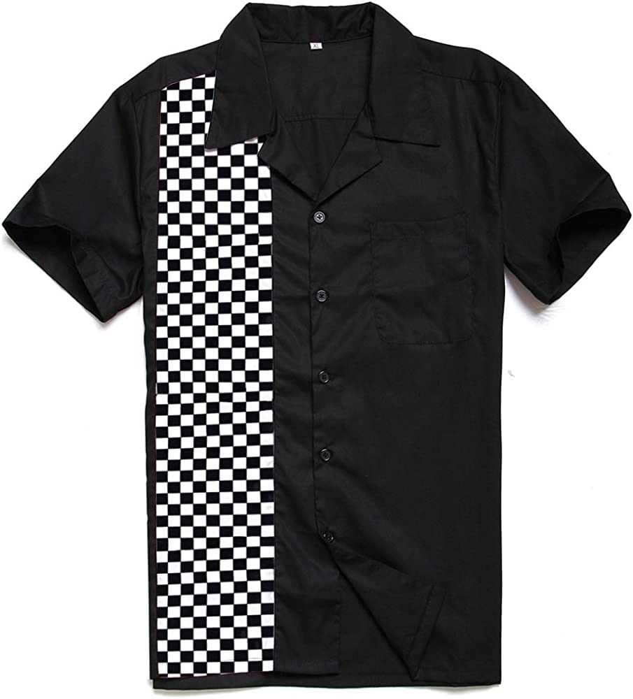 Candow Look Chemise casual black and white mosaic Noir Homme blwling shirts
