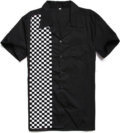 Candow Look Vintage Retro Hombres Camisas Mosaic Printed Novelty Casual Shirts