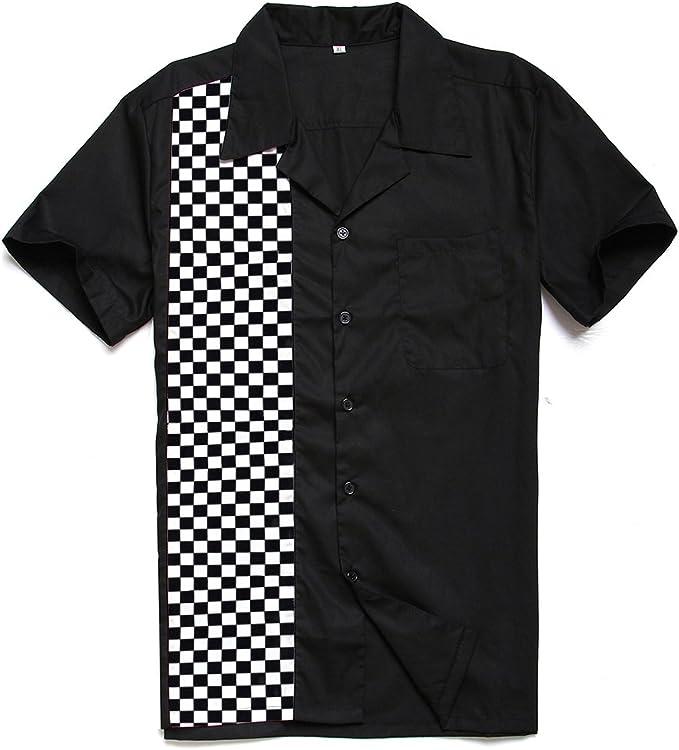Camisas de algodón para hombre, estilo rockabilly, de manga corta, estilo años 50