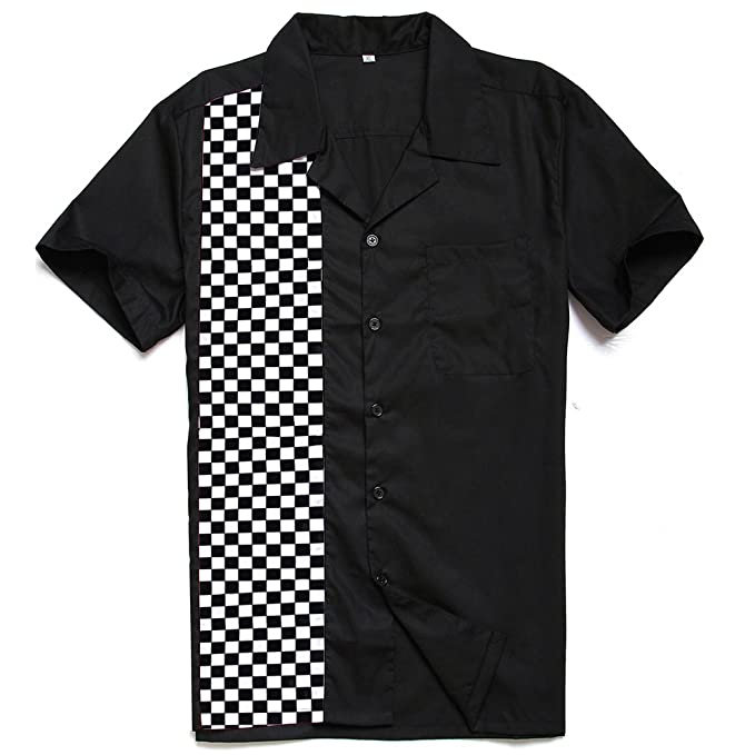 1950s Men's Clothing Anchor MSJ Mens 50s Male Clothing Rockabilly Style Casual Cotton Shirt Mens Fifties Bowling Dress Shirts £17.88 AT vintagedancer.com