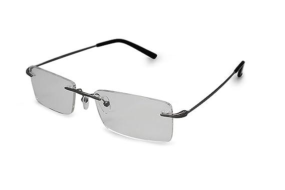 7c276c3c0 SmartBuy Collection Elias Men's Prescription Eyeglass Frames - Rimless  Rectangular Designer Glasses Frame - Elias Grey