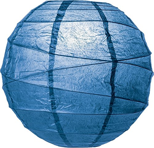 Luna-Bazaar-Premium-Paper-Lantern-Clip-On-Lamp-Shade-14-Inch-Free-Style-Ribbed-Lapis-Blue-ChineseJapanese-Hanging-Decoration-For-Parties-Weddings-and-Homes