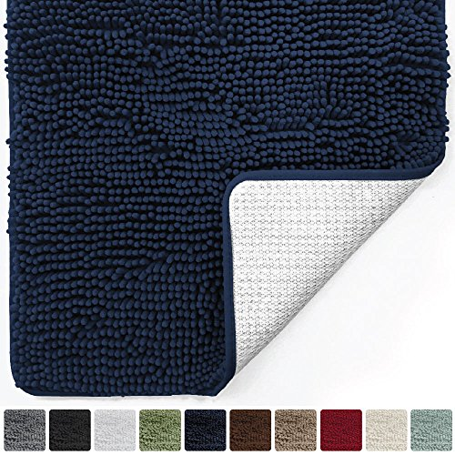Gorilla Grip Original Luxury Chenille Bathroom Rug Mat (30 x 20), Extra Soft and Absorbent Shaggy Rugs, Machine Wash/Dry, Perfect Plush Carpet Mats for Tub, Shower, and Bath Room (Navy)