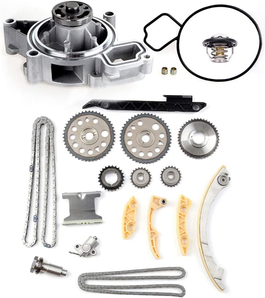 OCPTY Timing Chain Kit Include Coolant Thermostat Housing Water Pump Kit fits for TK10422 Chevy Cobalt 2.2L Saturn Sky 2.0L Pontiac G5 2.4L 2002 2005