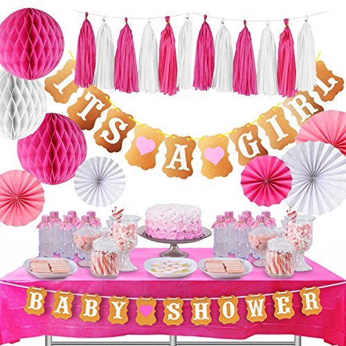 Premium Baby Shower Decorations for Girl kit | It's a Girl Baby Shower Decorations with Tablecloth, 2 Banners, Paper Fans, and Honeycomb Balls | Complete Baby Shower Set for a -