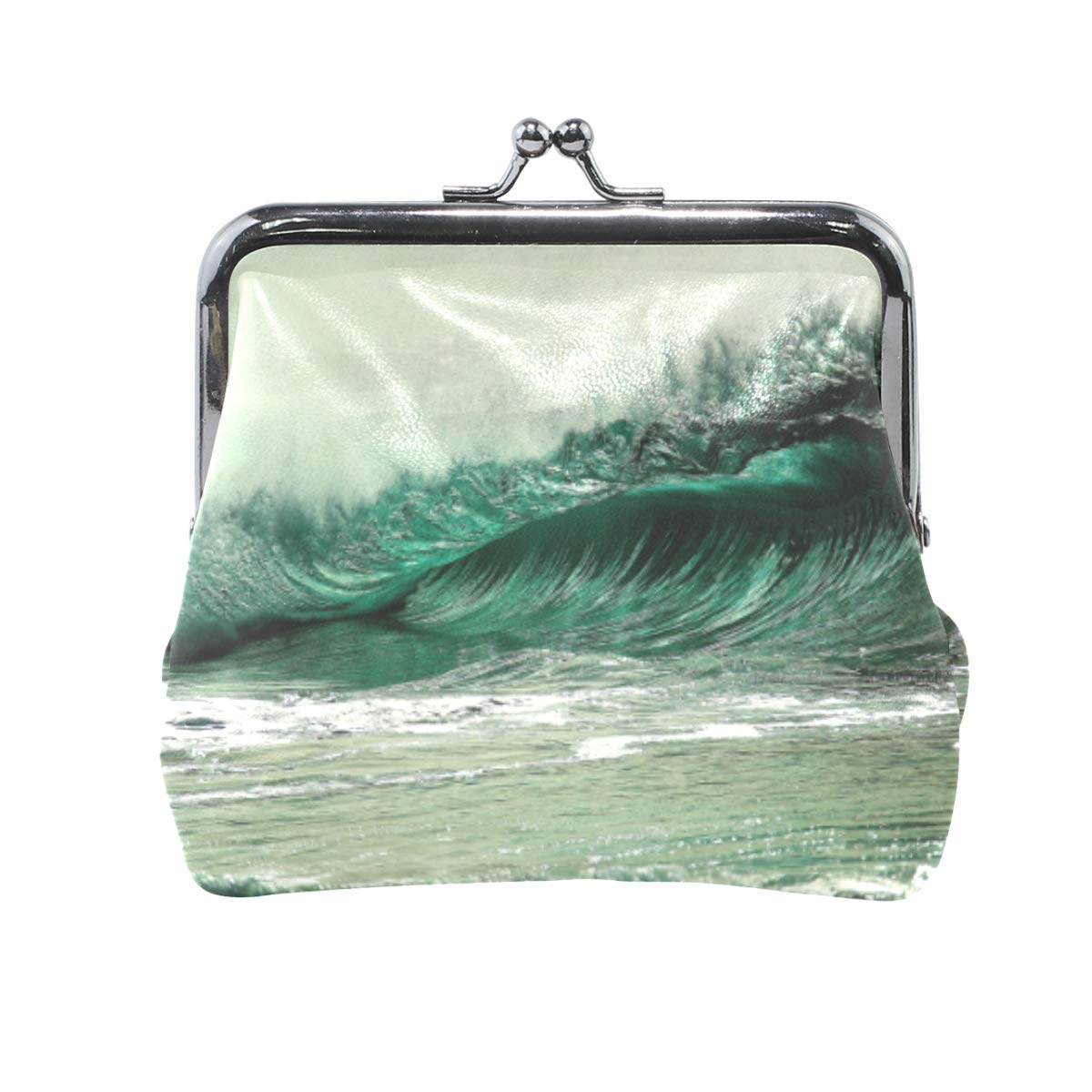 CLveg Green Ocean Wave PU Leather Coin Purse Card Package Wallet for Women Metal Button