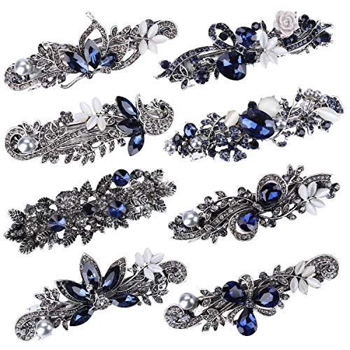 8 Pcs Crystal Rhinestones Hair Barrettes Hair Clasp Flower Butterfly French Clips Vintage Spring Hair Clips Bridal Hair Jewelry for Women and Girls