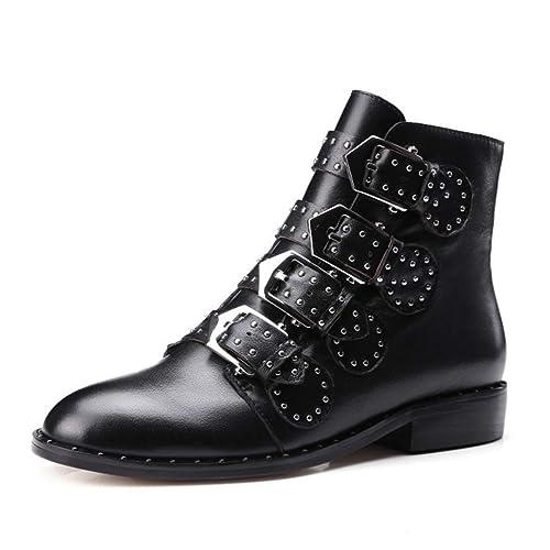 Botines para Mujer Correas de Hebilla de Piel sintética Tacón Grueso Botas Cortas Decoradas con Tachuelas Negras: Amazon.es: Zapatos y complementos