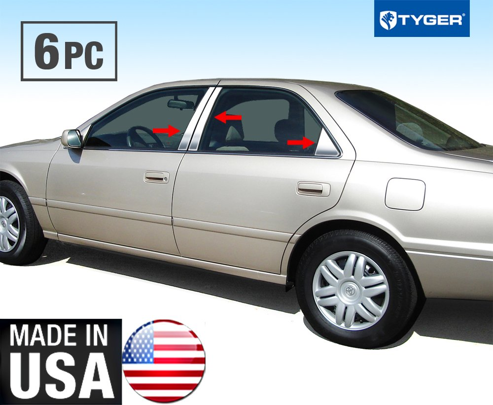 Made in USA! Works With 97-01 Toyota Camry 6 PC Stainless Steel Chrome Pillar Post Trim MaxMate