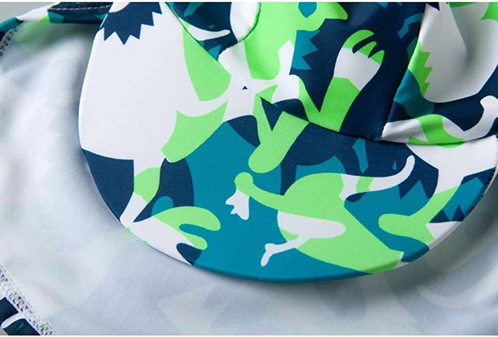 Collager Baby//Toddler Boys Long Sleeve Dinosaur Pattern Sunscreen Swimsuit Little Boys Round Neck Beach Swimsuit 3 Piece Suit