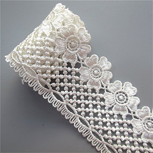 2 Meters Polyester Guipure Lace Ribbon Flower Edge Trim 5.7 cm Width Vintage Border White Edging Trimmings Fabric Embroidered Applique Sewing Craft Wedding Bridal Dress Embellishment DIY Decoration