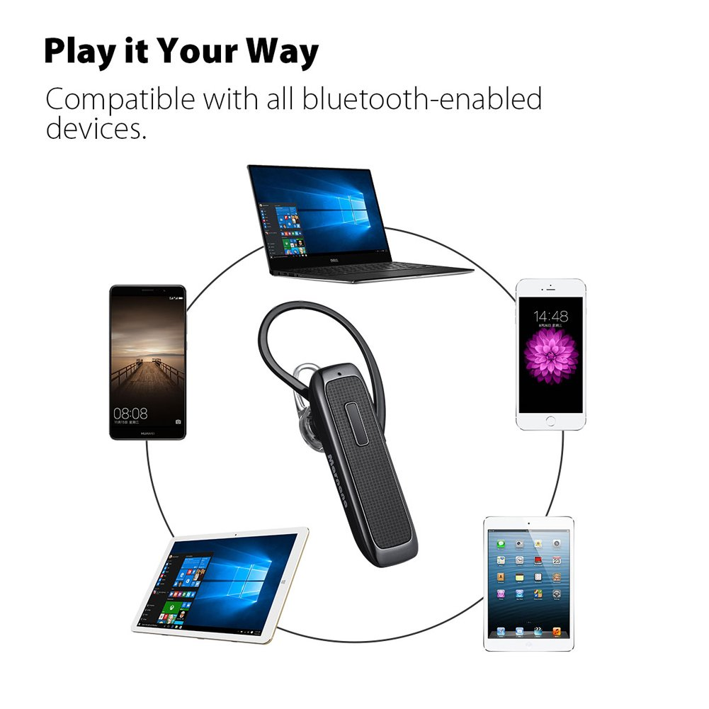 Bluetooth Headset, Wireless Bluetooth Earpiece with 18 Hours Playtime and Noise Cancelling Mic, Ultralight Earphone Hands-Free for iPhone iPad Tablet Samsung Android Cell Phone Calls by Marnana (Image #4)