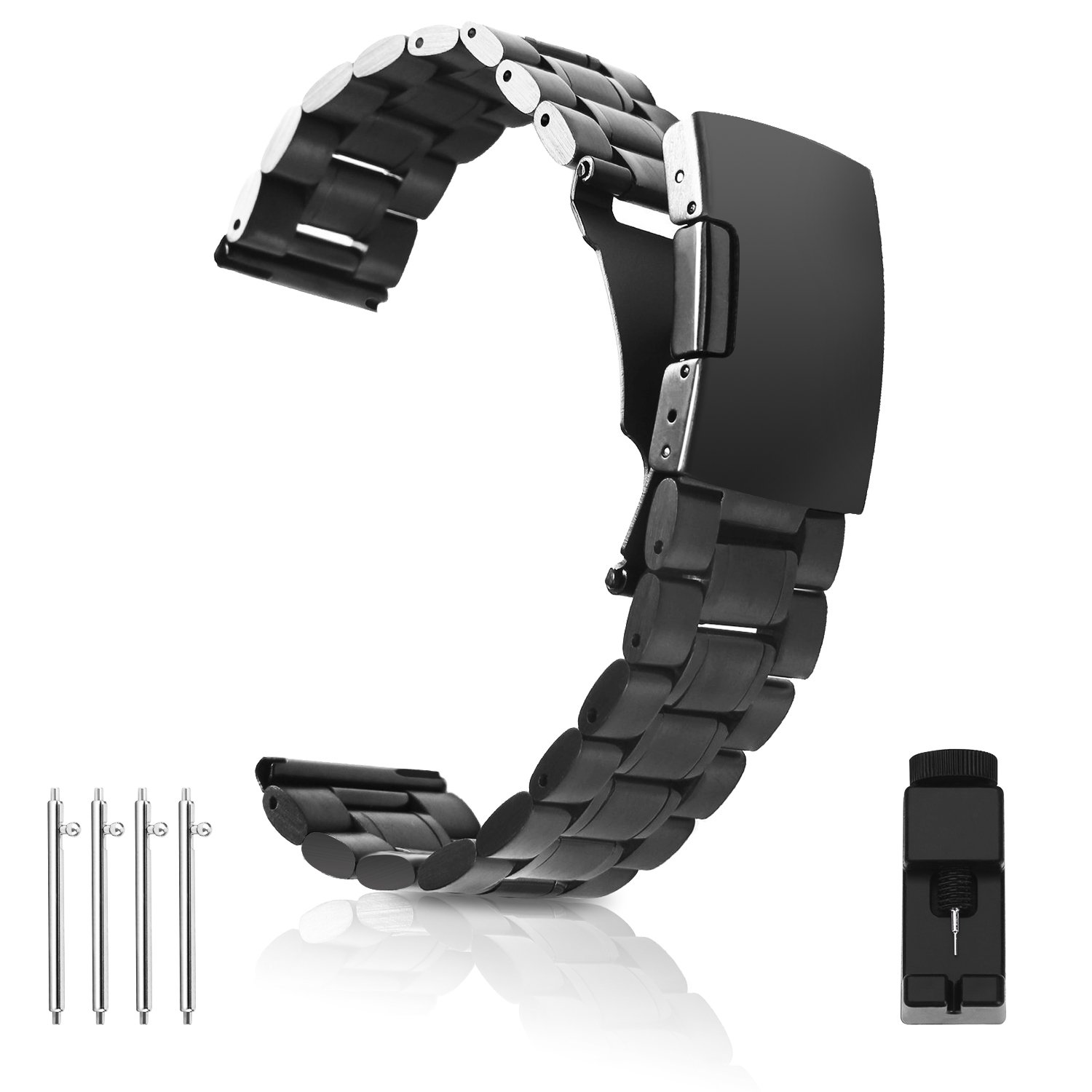 Vetoo 304 Stainless Steel 22mm Watch Bands for Moto 360 2nd Gen 46mm,Pebble Time,Time Steel,Classic,ASUS ZenWatch WI500Q,WI501Q,Samsung Gear 2 R380,Neo R381,Live R382,LG G Watch W100,Urbane,R(Black)