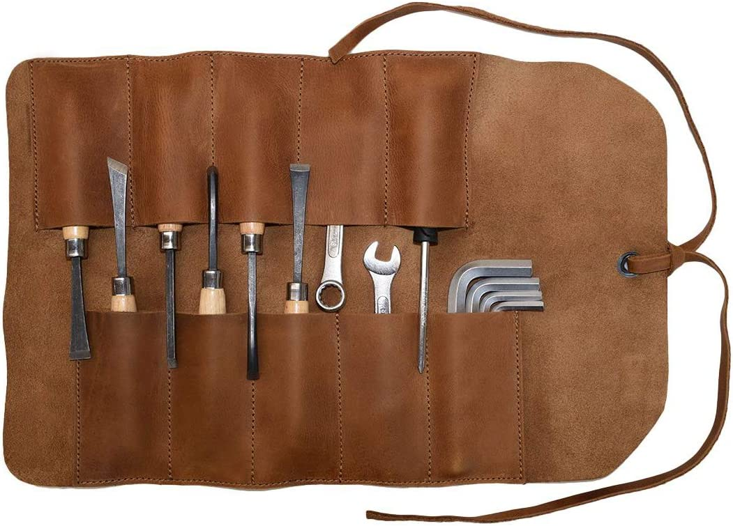 Hide Drink, Rustic Leather Small Tool Roll, Handmade Includes 101 Year Warranty Single Malt Mahogany