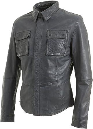 Infinity Slim Fit para Hombre Gris Retro del Camionero Jeans Chaqueta de la Camisa de Cuero Real del Motorista de la Vendimia: Amazon.es: Ropa y accesorios