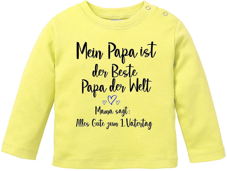 Vatertagsgeschenk T-Shirt Baby Langarm Bio Baumwolle EZYshirt/® Alles Gute zum 1 Vatertag
