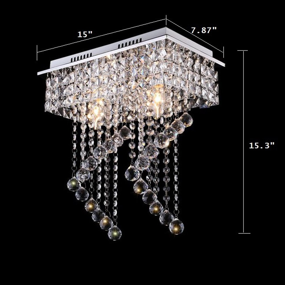 Surpars House Flush Mount 2-Light Crystal Chandelier, Length:15'' Width:7.87'' Height:15.3'',Silver by Surpars House (Image #5)