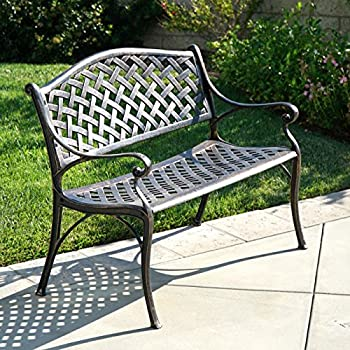 This Item Belleze Outdoor Patio Furniture Garden Bench Cast Aluminum,  Antique Copper