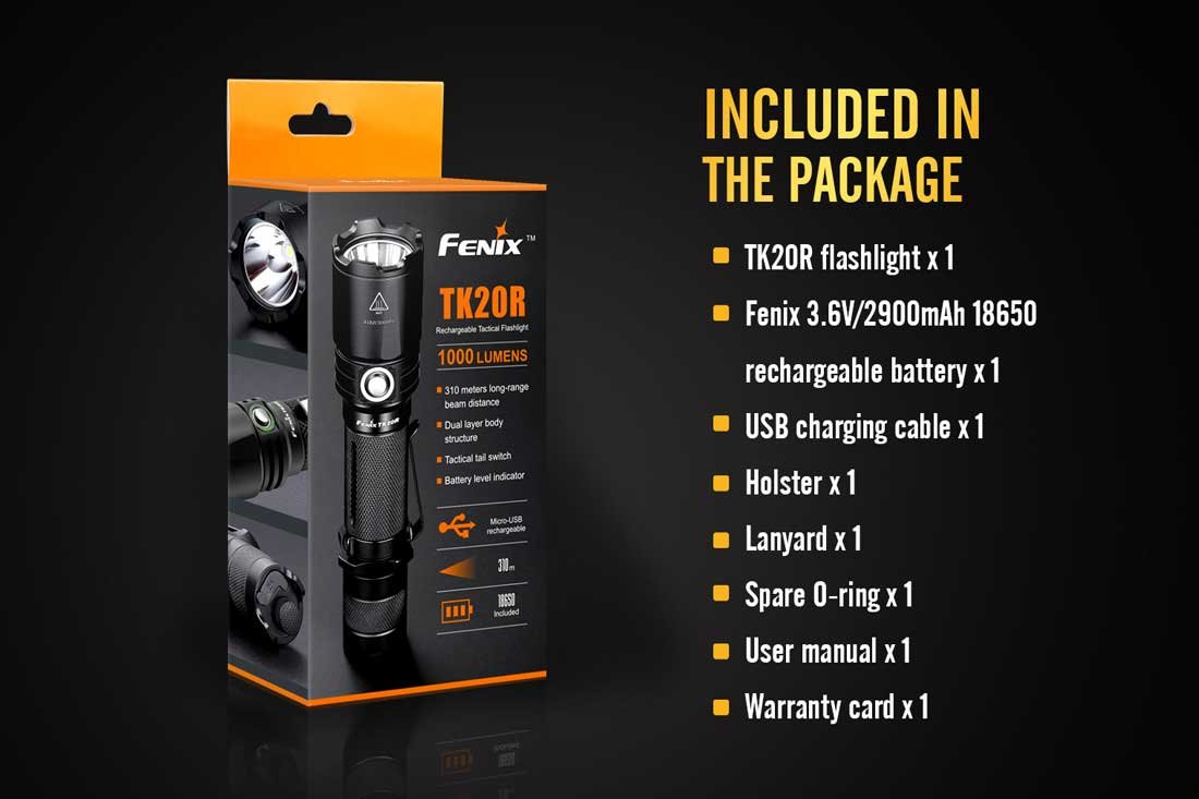 rechargeable battery holster USB charging cable and EdisonBright BBX3 battery carry case bundle FENIX TK20R 1000 Lumen USB Rechargeable Cree LED tactical Flashlight with