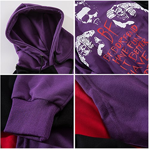 Con Unisex Scirtta Pizoff Stampa Streetwear A Contrasto E Felpa Cappuccio purple Al089 fqw7x