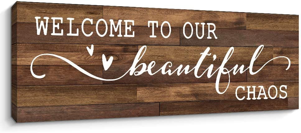 Pigort Family Wall Decor - Welcome To Our Beautiful Chaos - Funny Home Decor, 6 x 17 Inch Family Decorative Signs Retro Artwork Canvas Prints (Brown)