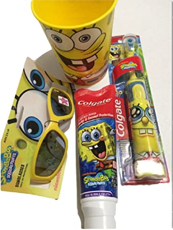 Sponge Bob Powered Toothbrush Plus Toothpaste 4.6oz with a 16 Oz Rinse Cup and Sunglasses