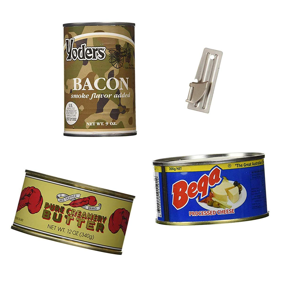 Emergency Food Bundle - Yoders Canned Bacon, Red Feather Canned Butter, Bega Canned Cheese PLUS Can Opener
