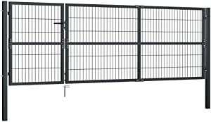 YVX Garden Gate with Posts Steel Fence Gate Security Gate with Mesh Wires for Outdoor Use 350x100 cm Anthracite