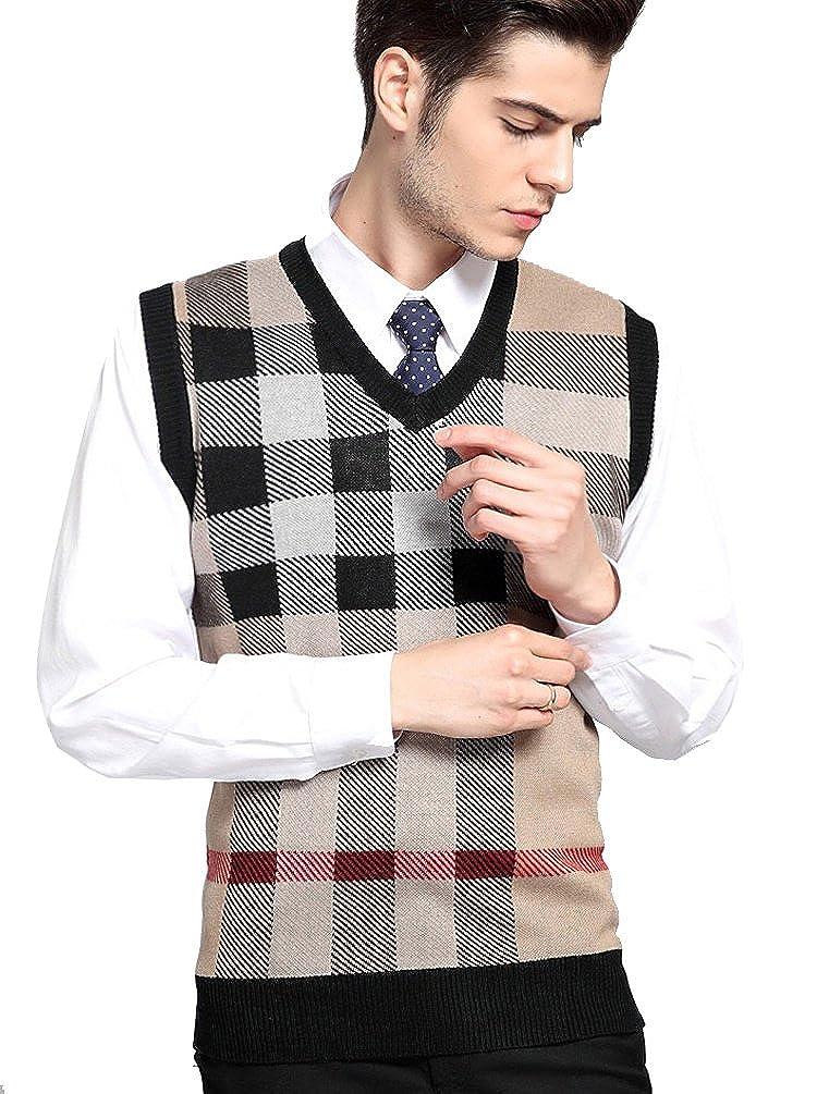In-fashion style Men's V-neck Plaid Knitwear Sweater Vest Waistcoat