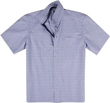 Jupiter XXL Camisa de Manga Corta a Cuadros en Azul Medio, 45-57:48: Amazon.es: Ropa y accesorios
