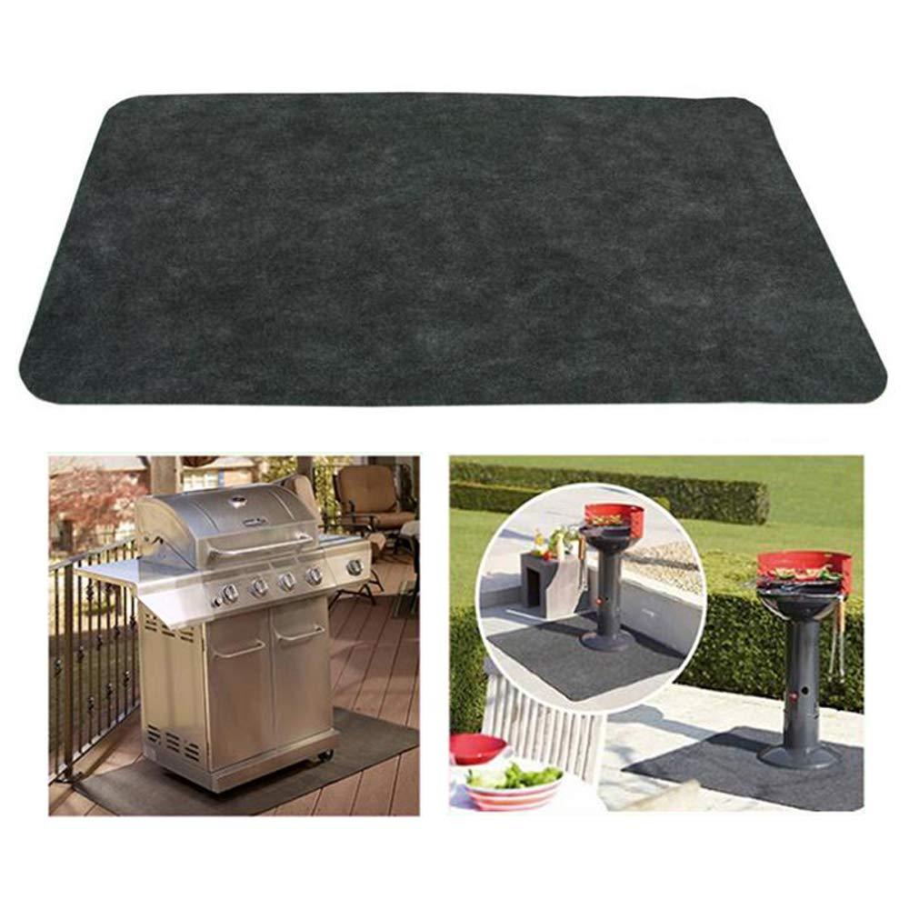 48 X 30 Finlon Gas Grill Mat Deck Patio Under The Grill Mat Fireproof Heat Resistant Bbq Gas Grill Splatter Mat Backyard Outdoor Gas Grill Floor Mat Protective Rug For Backyard