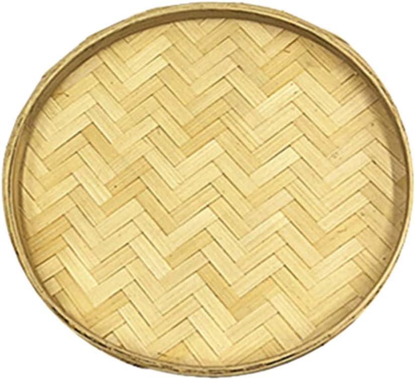HEALLILY Bambusholz Runde Servierplatte Traditionelles Rundes Rattan Flache Weidentablett Korbtablett DIY Holz Liefert 22Cm