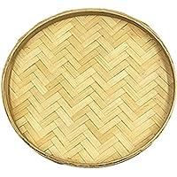 HEALLILY Bandeja Redonda de Madera de Bambú Bandeja