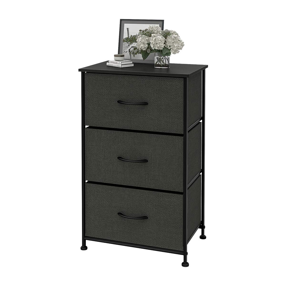 WLIVE Dresser with 3 Drawers, Fabric Storage Tower, Organizer Unit for Bedroom, Hallway, Entryway, Closets, Sturdy Steel Frame, Wood Top, Easy Pull Handle by WLIVE
