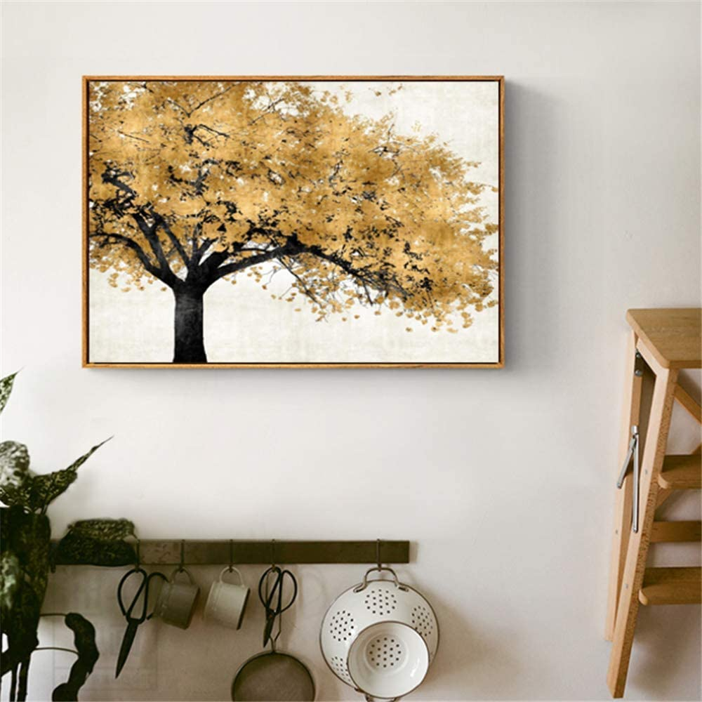 Crazystore Leinwand Kunstwerk Malerei 2x50x60cm kein Rahmen Golden Silber Rich Tree Moderne abstrakte Kunst f/ür Wohnzimmer Poster und Drucke Landschaft Bilder