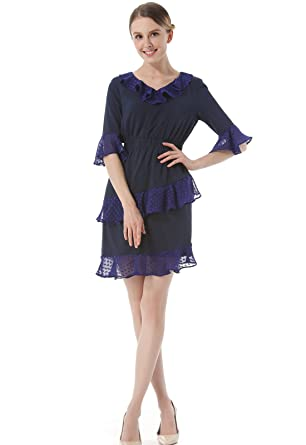 KAXIDY Ladies Dress Summer Mini Party Evening Cocktail Dress Girls Day Dresses (Small, Navy