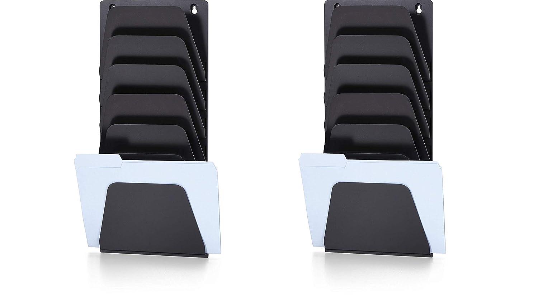 Officemate 壁ファイルホルダー レター/リーガル 7ポケット ブラック(21505) Pack of 2 Pack of 2  B07N8GR2HV