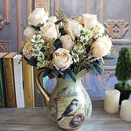 Soledi Artificial Flowers Earl Rose Bouquet Silk Arrangement Large Palace Rose -milk white (No Vase)