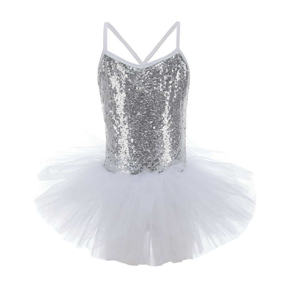 Paillettes Body per ragazze Cinghia Canotta Balletto Tutu Dress Gymnastics Dancewear Costume di Wongfon