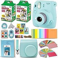 Fujifilm Instax Mini 9 Instant Camera ICE Blue + Fuji INSTAX Film (40 hojas) + Paquete de accesorios + Estuche personalizado con correa + Marcos variados + Álbum de fotos + 60 Marcos de adhesivos coloridos + Más