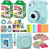 : Fujifilm Instax Mini 9 Instant Camera ICE BLUE + Fuji INSTAX Film (40 Sheets) + Accessories Kit Bundle + Custom Case with Strap + Assorted Frames + Photo Album + 60 Colorful Sticker Frames + MORE